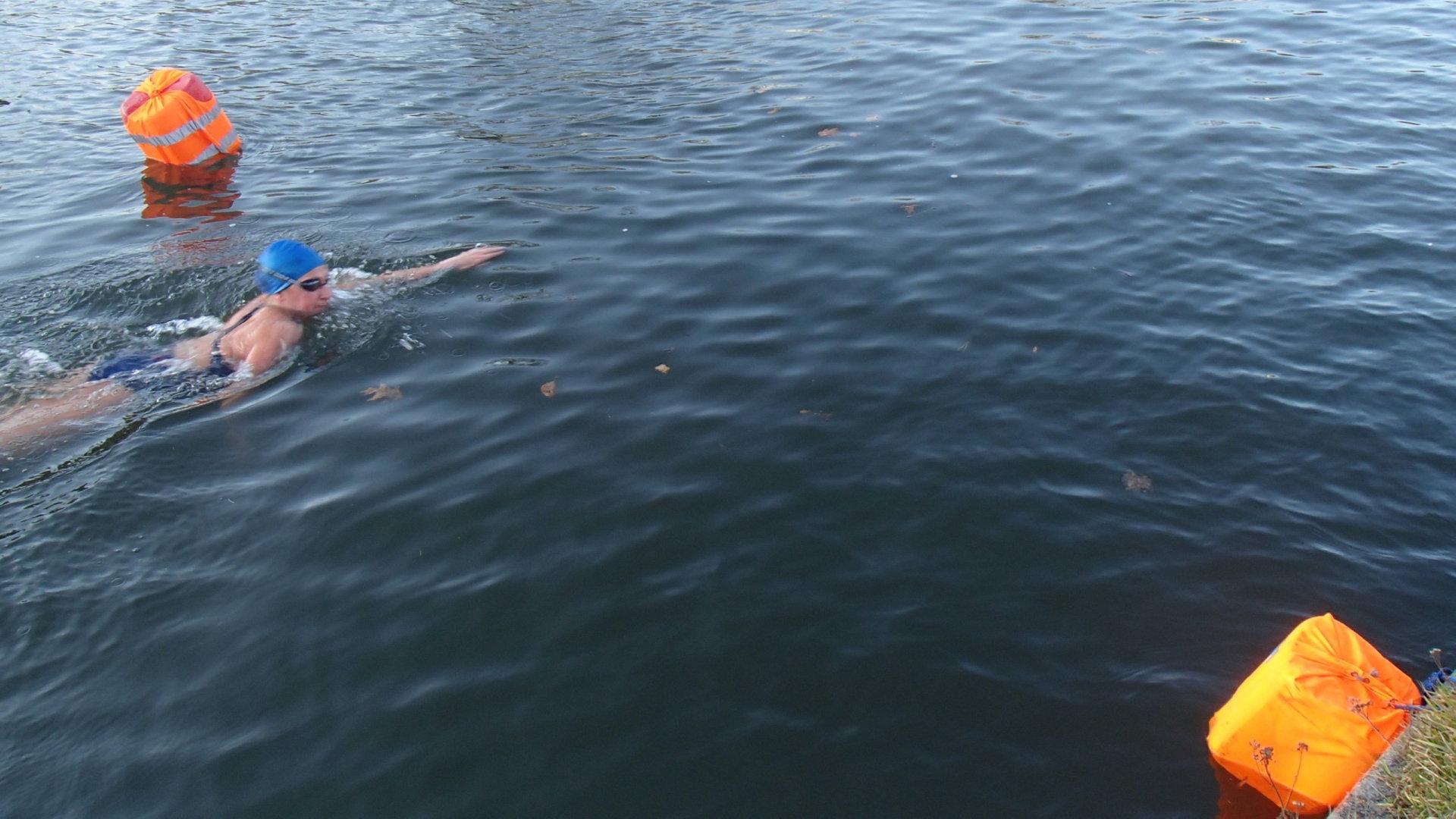 Otužilecké Labe 2019 - plavkyně v cíli tratě 500 metrů.